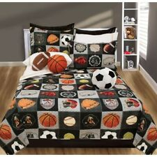 Twin Full Queen Bed Black Gray Sports Patchwork 3 pc Quilt Set Coverlet Bedding