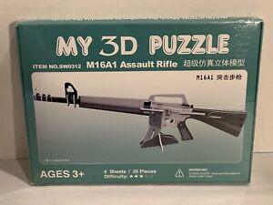 3D Puzzle M16 Rifle 3D Puzzle Model Kit 36 Pieces Four Sheets SW0312 Sealed