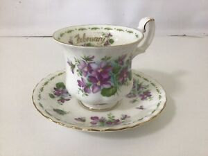 """Royal Albert Smaller Flower Of The Month Duo - February """" VIOLETS"""" / England"""