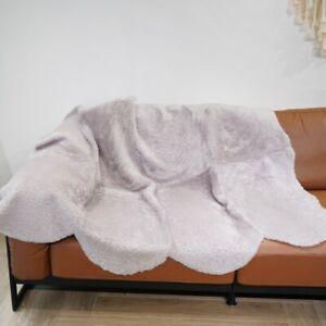5.6'x4.6' Light Purple Australian Sheepskin Rug Natural Curly Fur Cushion Mat