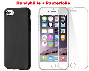 Soft Matt TPU/Gel Handyhülle Schutzhülle für iPhone 6S 6 schwarz + Panzerfolie