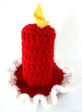 Handmade Crochet Crocheted Red & White Christmas Holiday Decor Candle w/ Flame