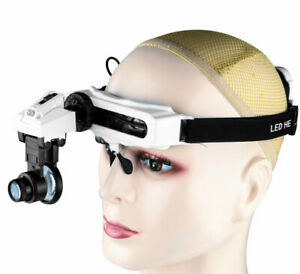 LED Headband Magnifying Glass Head Visor Eye Loupe Watch Clock Repair Magnifier
