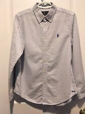 Ralph Lauren Polo Boys Classic Oxford Blue White Striped Shirt Size L 14 - 16
