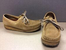 CLARKS WALLABEES LOW TOP FLATS OXFORD SHOES SAND TAN SUEDE 35395 WOMENS SIZE 8M