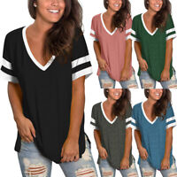 Women V Neck T Shirts Short Sleeve Side Split Loose Casual Tee Tunic Tops Blouse