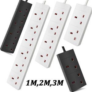 Extension Lead 1M,2M,3M,5M Cable Electric Mains Power 2 4 6 Way UK Plug Socket