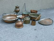 COLLECTION OF 10 ANTIQUE COPPER POTS ,TEAPOTS AND CHARGERS