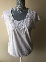 John Rocha Womens Top Size 14 White Embroidered Tie Hem Cotton Short Sleeved