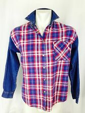 Early, Rare Vintage 80's GUESS Grunge Plaid Flannel And Denim Shirt. Small
