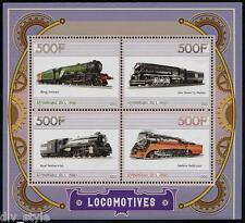 Steam Locomotoras Hoja De 4 Sellos MNH Sur Pacífico 4449 Rep. Del Congo