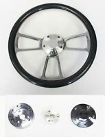 "Chevelle Nova Camaro Impala 14"" Carbon Fiber & Billet Steering Wheel plain cap"