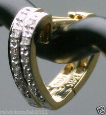 """1/2"""" Solid 14K Yellow Gold Genuine DIAMONDs HEART Huggies Hoop Earrings CUTE$395"""