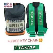 NEW JDM Bride Racing Backpack with Takata Racing Harness Shoulder Straps Green