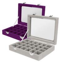 2 Elegant Jewelry Necklace Ring Storage Display Box Case Organizer Glass Lid