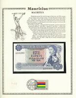Mauritius Banknote 5 Rupees 1967 P 30c UNC  w/FDI UN FLAG  Fancy A/48 101983