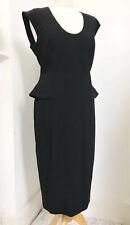 PHASE EIGHT Black Peplum Zip Back Dress Size 14 BNWT Office Smart Formal