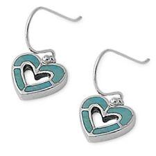 Heart Shape Turquoise  .925 Sterling Silver Earrings