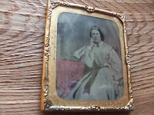 VICTORIAN TINTED AMBROTYPE. FAMILY PHOTOGRAPH WITH GILT FRAME  NICE CONDITION.