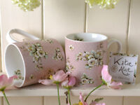 Set of 2 KATIE ALICE Cottage Flower PINK FLORAL Shabby Chic MUGS Vintage Inspire