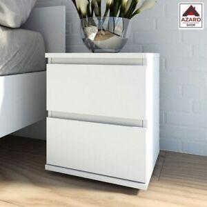 Comodino camera da letto cameretta bianco moderno kit in legno 2 cassetti design
