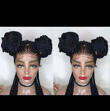 FULL LACE Wig /French braid pigtail bun ...human hair base