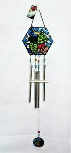 """Romero BRITTO Stained Glass Style Wind Chimes, FROG Theme, 32"""""""