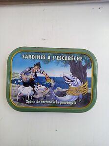 Boîte de sardines à l'escabèche avec caricature de Fernandel