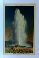 Wyoming Yellowstone National Park Old Faithful Geyser Linen Vintage Postcard