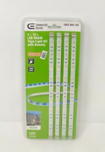 Commercial Electric Four 12inch LED RGBW Tape Light Kit with Remote