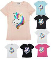 Kids Girls Emoji Emoticons Unicorn T-Shirt Tee Brush Changing Sequin 3-14 Years