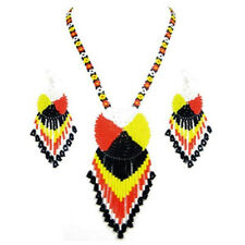 Native style Black Yellow Red Black Beaded Medicine Wheel Necklace Earrings