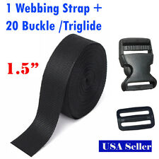 1.5 Inch 10 Yards PP Webbing Strap + 10 Buckle 10 Triglide Sewing Tool 3.8cm DIY
