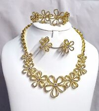 High Quality Dubai Gold Plated flower Crystal Party Wedding Necklace Set