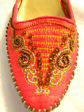 Pink embellished Embroidered Kitten Heel oriental shoes Mules Slippers 5 6 7