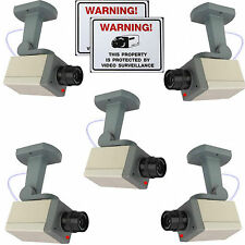 FAKE SECURITY DUMMY SURVEILLANCE CCTV CAMERAS+BRACKETS+WARNING STICKER