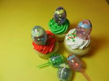 12 3-D Easter Eggs Cupcake Toppers Cake Candy Cookie Cake Pop Decorations