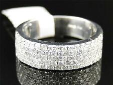 White Gold Finish Genuine Diamond Pave Wedding Engagement Band Ring 1.0 Ct
