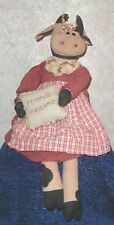 """Country Cow Doll Shelf Sitter FRIENDS WELCOME sewn on pillow 21"""" x 5.5"""""""