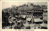 Paris Frankreich CPA ~1920/25 Le Boulevard Montmartre Geschäfte alte Autos Tram