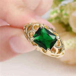 Green Emerald Big Stone CZ Ring Women/Men's yellow Rhodium Plated ring Size 6