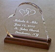 Wedding Cake Topper Acrylic Engraved Bride Heart  Groom