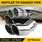 Car Auto Silver Rear Dual Exhaust Pipe Tail Muffler Tip Throat Tailpipe Parts