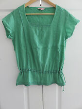 FAT FACE SPEARMINT GREEN COTTON HIP LENGTH CASUAL SUMMER BLOUSE TOP UK 10