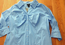 NEW ** LANE BRYANT ** Powder Blue Button Up Blouse NWT 22 / 24