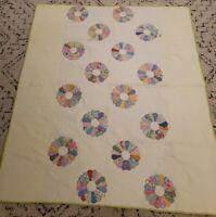 "Vintage Dresden Plate Quilt Mulit Color 69"" by 82"" Handmade"