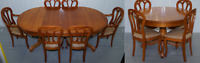 RRP £6000 GRANGE HAND MADE FRANCE CHERRYWOOD EXTENDING DINING TABLE & SIX CHAIRS