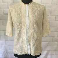 Vintage 1960's Vanity Fair Bed Jacket Light Blue Lace Front Blouse Sz 34