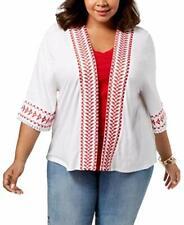 6e9bc4e7e6b Style   Co Women s Top Embroidered Fringed Kimono White Plus Size 2x