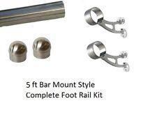 5 ft Brushed Stainless Steel Foot Rail Kit - 2 Bar Mount Brackets & 2 Domed Caps
